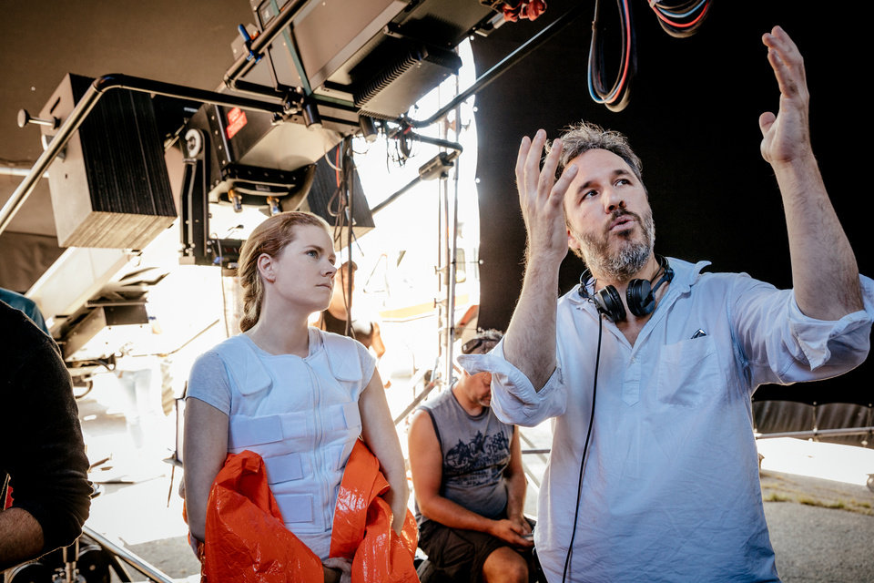 Photo -  From left, Amy Adams and director, Denis Villeneuve on the set of the film