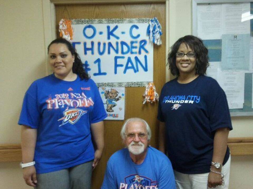 In Altus, Plantation Village Nursing Center employees Annie Fowler, Jimmy Elkins and Nancy Boone get ready to Thunder Up for the NBA finals. Residents also are holding watch parties and competing for Thunder T-shirts in bingo games.