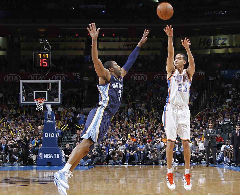 Photo - Oklahoma City's Kevin Martin (23) shoots over Memphis' Wayne Ellington (3)  shoots during the NBA basketball game between the Oklahoma City Thunder and the Memphis Grizzlies at Chesapeake Energy Arena on Wednesday, Nov. 14, 2012, in Oklahoma City, Okla.   Photo by Chris Landsberger, The Oklahoman