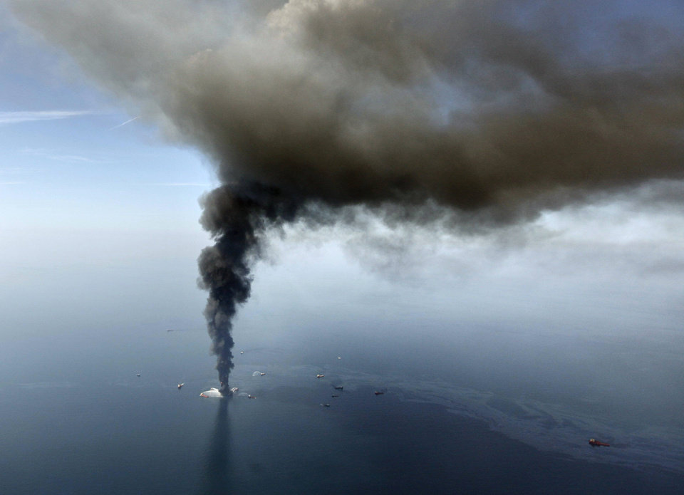 Photo - FILE - In this April 21, 2010, file photo, the Deepwater Horizon oil rig burns in the Gulf of Mexico. Sony Electronics and the Nielsen television research company collaborated on a survey ranking TV's most memorable moments. Other TV events include, the Sept. 11 attacks in 2001, Hurricane Katrina in 2005, the O.J. Simpson murder trial verdict in 1995 and the death of Osama bin Laden in 2011. (AP Photo/Gerald Herbert, File) ORG XMIT: NYET125