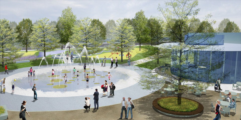 Photo - IMPROVE / IMPROVEMENTS / MAKEOVER: Plans call for a fountain, children's area and cafe to be located by the water stage in the southwest corner of the Myriad Gardens. RENDERING BY THE OFFICE OF JAMES BURNETT     ORG XMIT: 0910082231590467
