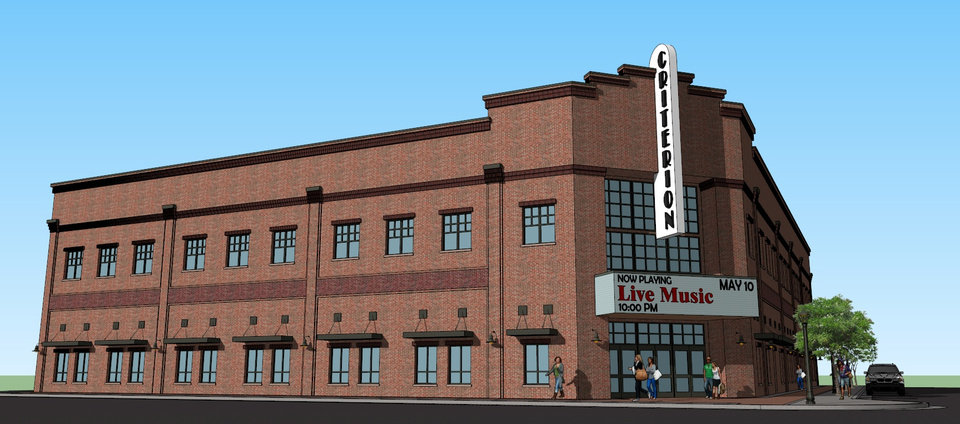 Photo -  The revised design for the Criterion concert hall moves the entrance to the corner of Sheridan and Charlie Christian Avenues, a glass curtain wall above the marquee, and brick detailing that hearkens back to Bricktown's century-old warehouses.