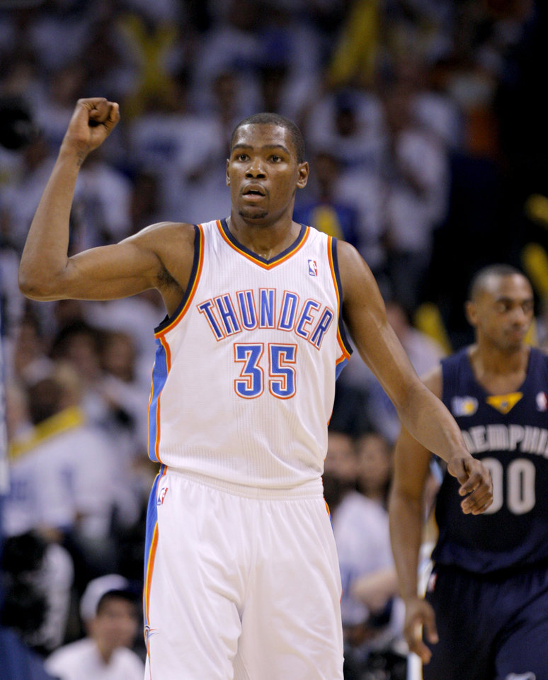 Oklahoma City\'s Kevin Durant (35) celebrates a score during game five of the Western Conference semifinals between the Memphis Grizzlies and the Oklahoma City Thunder in the NBA basketball playoffs at Oklahoma City Arena in Oklahoma City, Wednesday, May 11, 2011. Photo by Bryan Terry, The Oklahoman