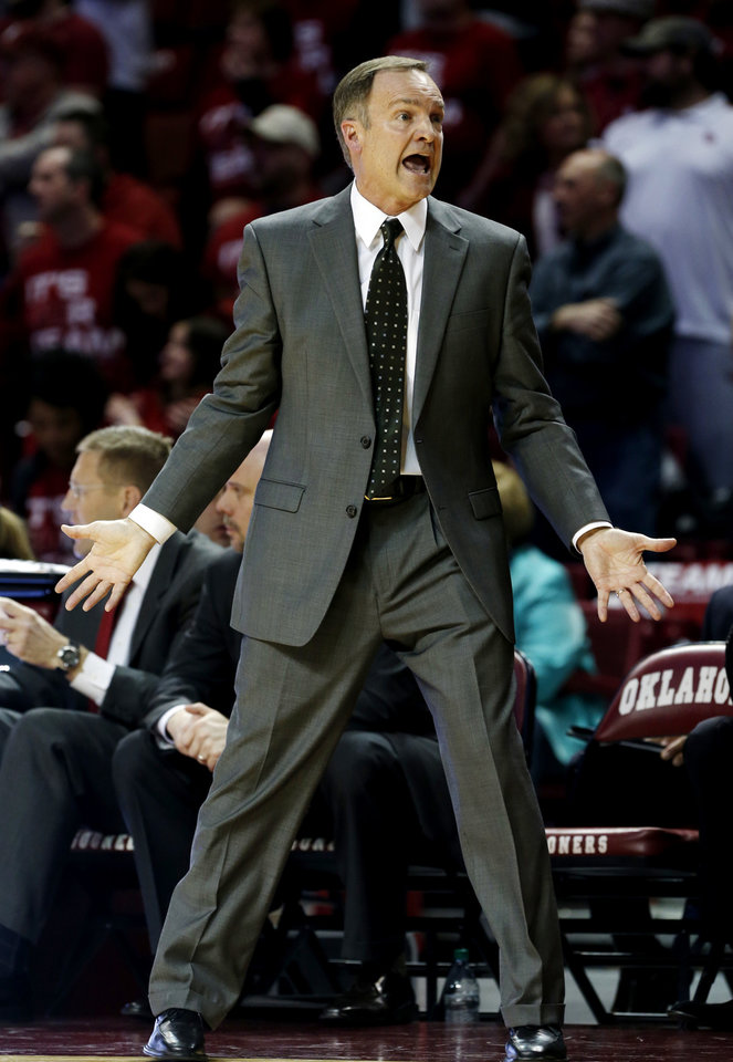 Oklahoma Sooner head coach Lon Kruger reacts to play in the second half as the University of Oklahoma Sooners (OU) men defeat the Baylor University Bears (BU) 90-76 in NCAA, college basketball at The Lloyd Noble Center on Saturday, Feb. 23, 2013  in Norman, Okla. Photo by Steve Sisney, The Oklahoman