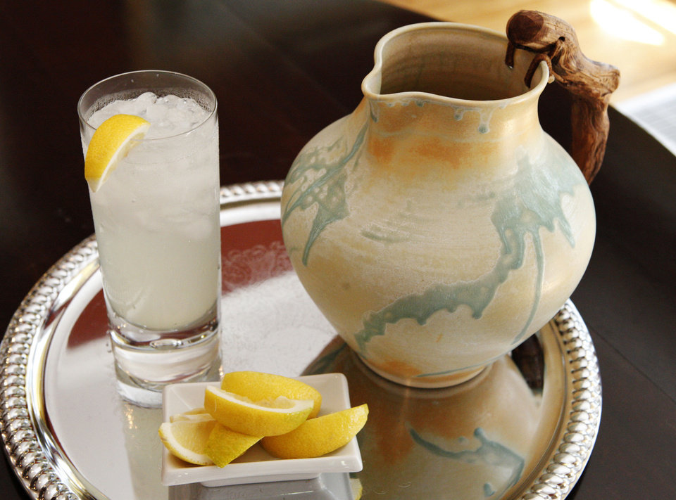 Photo - Lemonade in stoneware pottery made by Robin Wolf of Robin Wolf Pottery, Kingfisher, shot at  her mother's house in Oklahoma City, Wednesday, May 1, 2013. Photo by Paul B. Southerland, The Oklahoman
