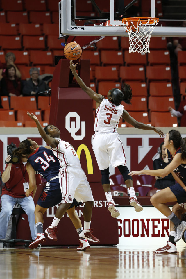 Photo - Oklahoma Sooner's Aaryn Ellenberg (3) gets a rebound in the closing seconds of the second half as the University of Oklahoma Sooners (OU) defeat the Gonzaga Bulldogs 82-78 in NCAA, women's college basketball at The Lloyd Noble Center on Thursday, Nov. 14, 2013  in Norman, Okla. Photo by Steve Sisney, The Oklahoman