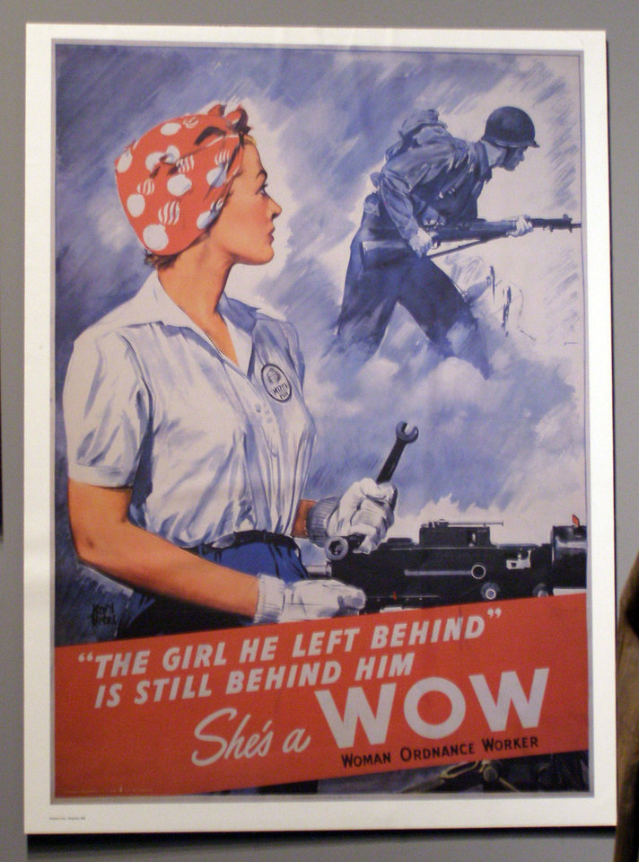 Women played a major role in shipbuilding during World War II. This propaganda poster is part of an exhibit at the Door County Maritime Museum. <strong>Amy Raymond, The Oklahoman - Amy Raymond, The Oklahoman</strong>