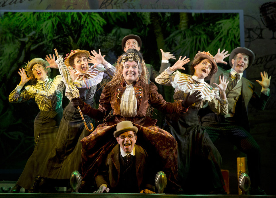 Photo - FILE - This undaed file theater image released by The O+M Company Jefferson Mays, center, during a performance of
