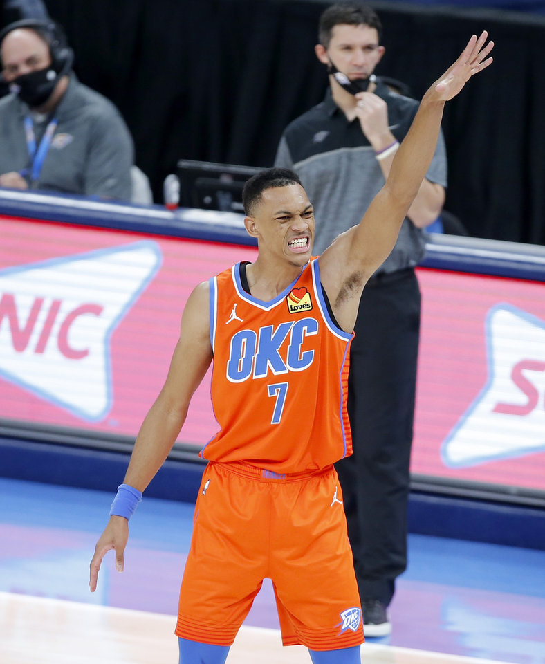Photo - Oklahoma City's Darius Bazley (7) reacts after missing a shot during an NBA basketball game between the Oklahoma City Thunder and the San Antonio Spurs at Chesapeake Energy Arena in Oklahoma City, Tuesday, Jan. 12, 2021.  San Antonio won 112-102. [Bryan Terry/The Oklahoman]