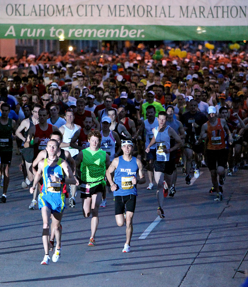 Photo - Runners start the Tenth Annual Oklahoma City Memorial Marathon in Oklahoma City on Sunday, April 25, 2010. By John Clanton, The Oklahoman ORG XMIT: KOD