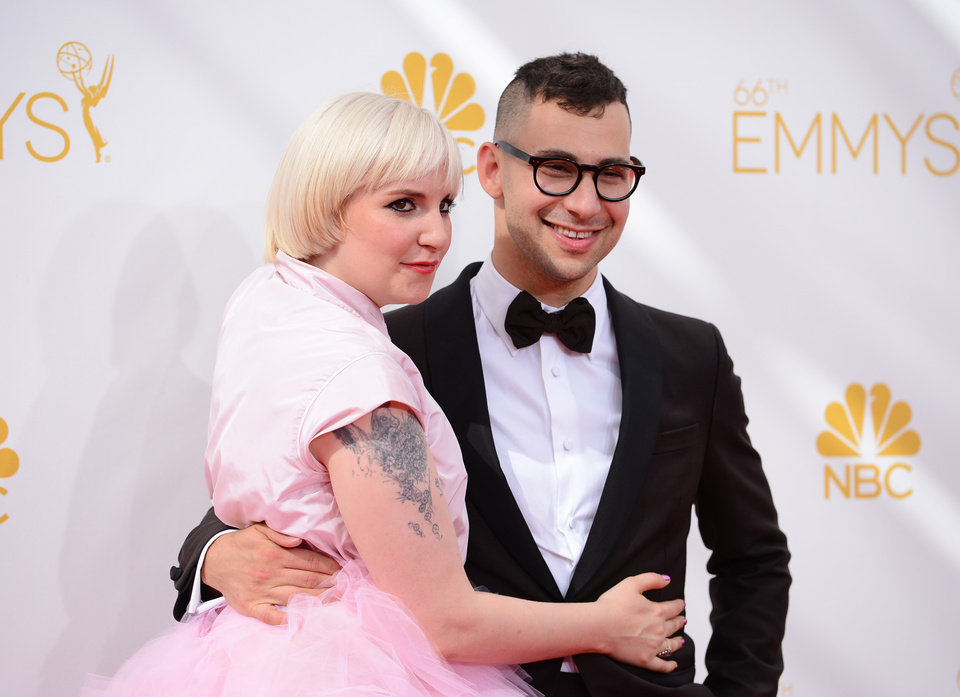 Photo - Lena Dunham, left, and Jack Antonoff arrive at the 66th Annual Primetime Emmy Awards at the Nokia Theatre L.A. Live on Monday, Aug. 25, 2014, in Los Angeles. (Photo by Jordan Strauss/Invision/AP)