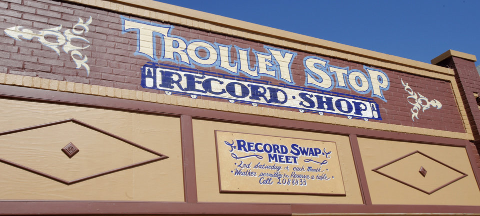 Exterior front sign of John Dunning's Trolley Stop Record Shop in Oklahoma City Thursday, July 19, 2012.  Photo by Paul B. Southerland, The Oklahoman