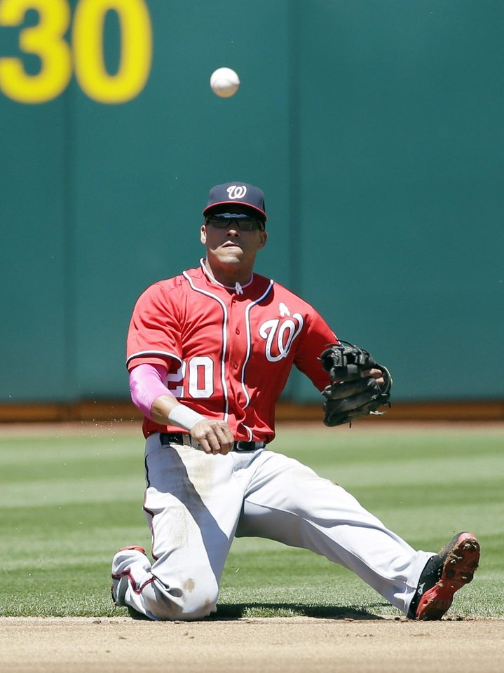 Photo - Washington Nationals shortstop Ian Desmond makes an off-balance throw to first base on a ground ball hit by Oakland Athletics' Alberto Callaspo during the first inning of a baseball game on Sunday, May 11, 2014, in Oakland, Calif. Callaspo got an infield single on the play. (AP Photo/Marcio Jose Sanchez)