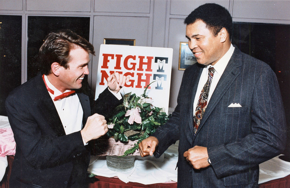 Photo - Muhammad Ali with Sean O'Grady at Fight Night. Staff Photo