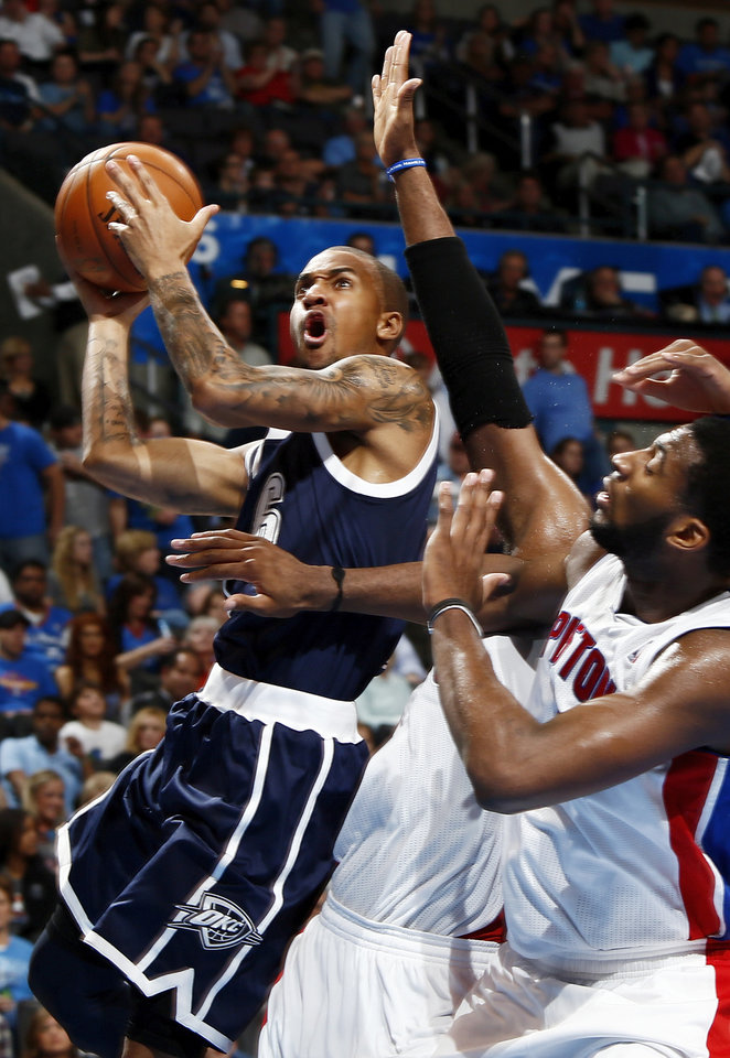 Oklahoma City's Eric Maynor (6) works against the Detroit defense during an NBA basketball game between the Detroit Pistons and the Oklahoma City Thunder at the Chesapeake Energy Arena in Oklahoma City, Friday, Nov. 9, 2012. Oklahoma City won, 105-94. Photo by Nate Billings, The Oklahoman