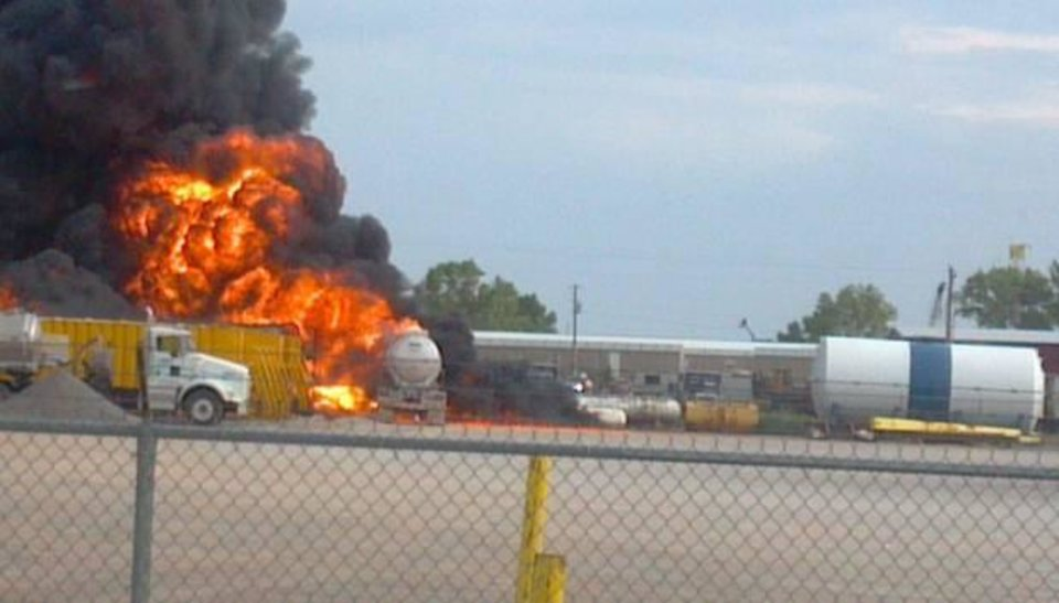 Photo - User-submitted photo: Hodges Trucking fire in Elk City.