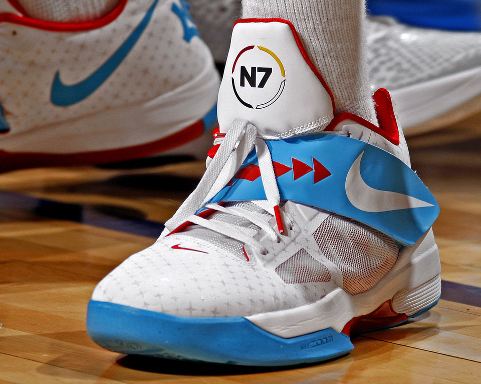 Kevin Durant\'s shoe is seen during the NBA basketball game between the Oklahoma City Thunder and the Los Angeles Clippers at Chesapeake Energy Arena in Oklahoma City, Wednesday, April 11, 2012. Photo by Bryan Terry, The Oklahoman