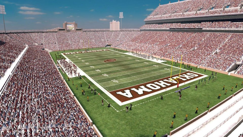 Photo - The Gaylord Family-Oklahoma Memorial Stadium will have the new video boards and upper deck added in this year's NCAA Football 11. PHOTO PROVIDED