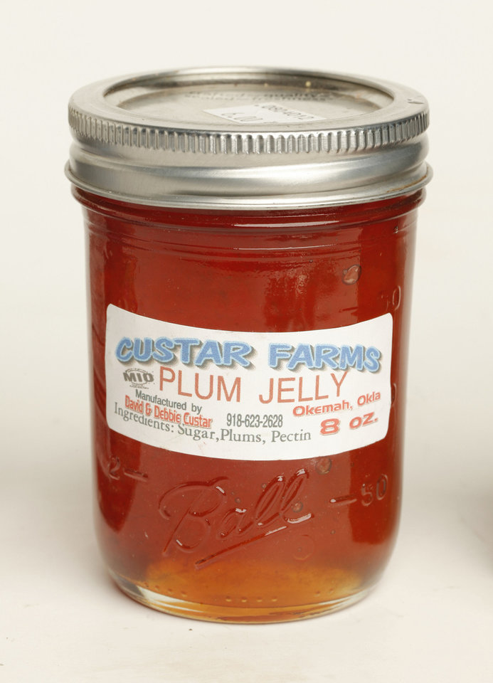 Custar Farms plum jelly.   Photo by Doug Hoke, The Oklahoman. <strong>DOUG HOKE - THE OKLAHOMAN</strong>