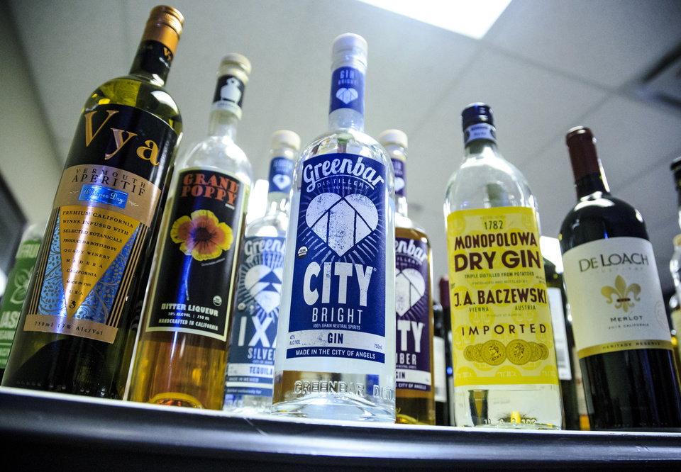 Photo - Brands of liquor stocked by ​Ricky Naifeh, owner of Premium Brands Wines and Spirits, at his warehouse in Oklahoma City, Okla. on Wednesday, Sept. 19, 2018. Photo by Chris Landsberger, The Oklahoman