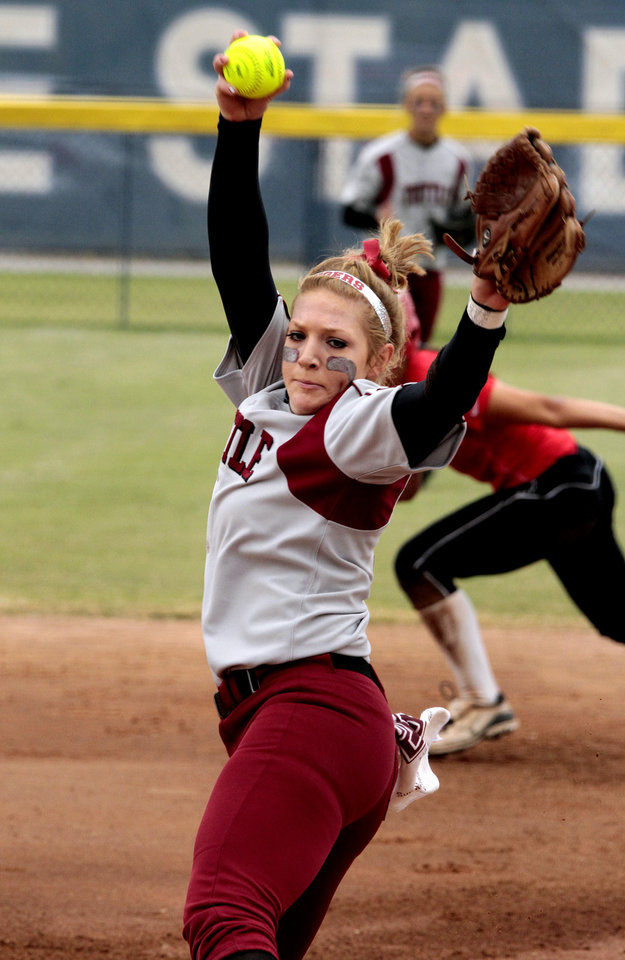 Tuttle pitcher Shea Coats throws against Purcell at the 2012 State Fast-Pitch Softball Tournament on Thursday, Oct. 11, 2012 at ASA Hall of Stadium in Oklahoma City, Okla.  Photo by Steve Sisney, The Oklahoman