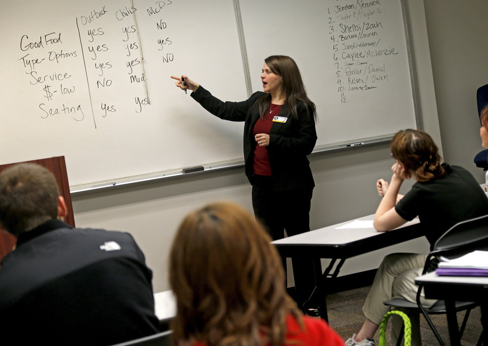 Jennifer Foster teaches a Fundamentals of Speech hybrid course Wednesday at the University of Central Oklahoma in Edmond. Photos by Bryan Terry, The Oklahoman