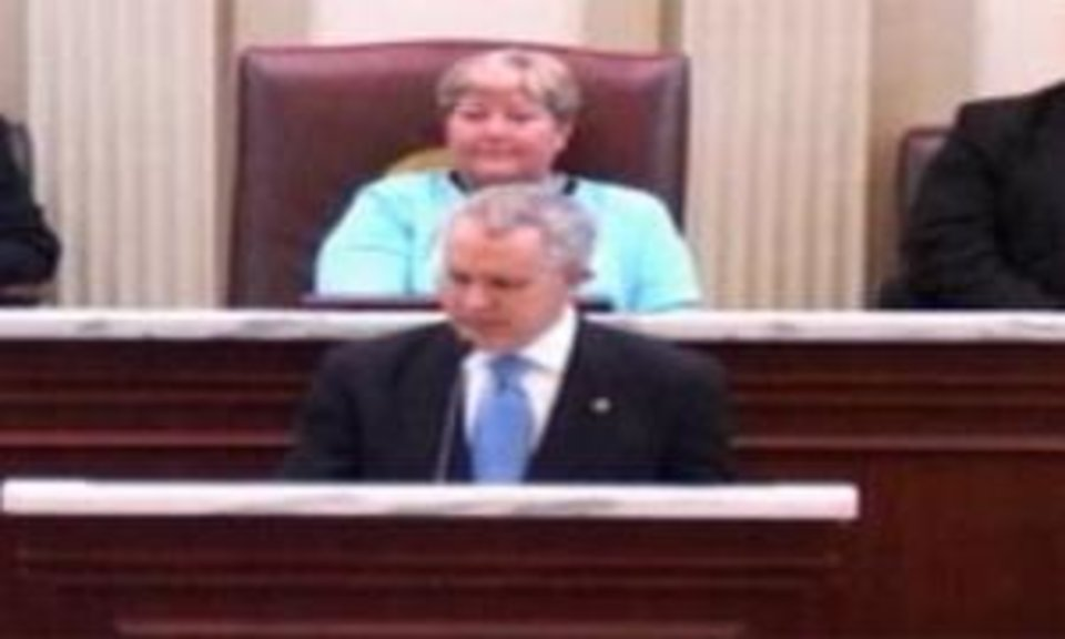 Oklahoma Gov. Brad Henry delivers the State of the State today in this image from video.