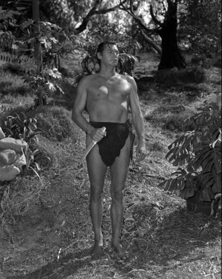 "Johnny Weissmuller appears in the role of Tarzan in scene from  ""Tarzan And The Leopard Men"" (AP Photo)"