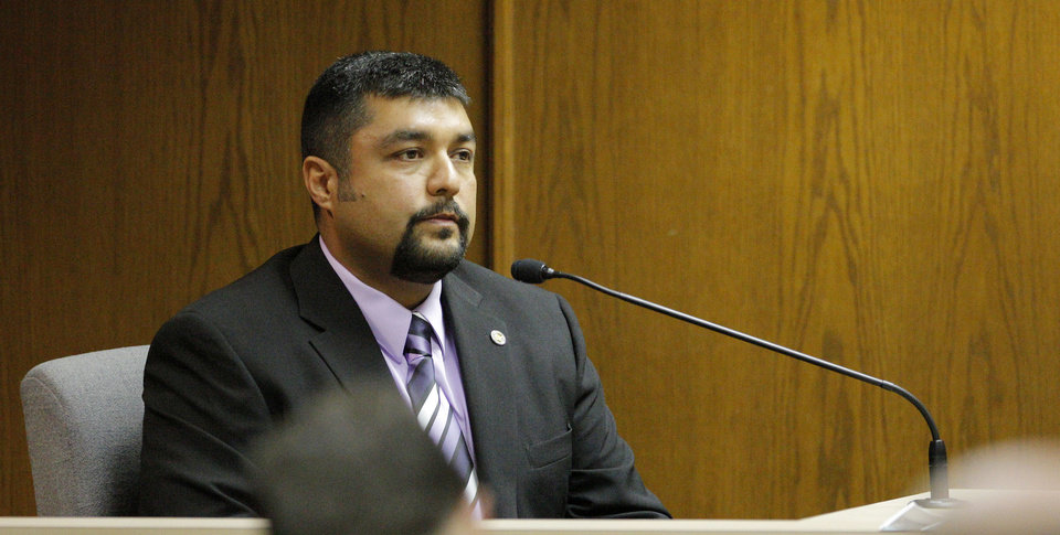 Oklahoma State Bureau of Investigation agent Martin Solorzano testifies Wednesday.