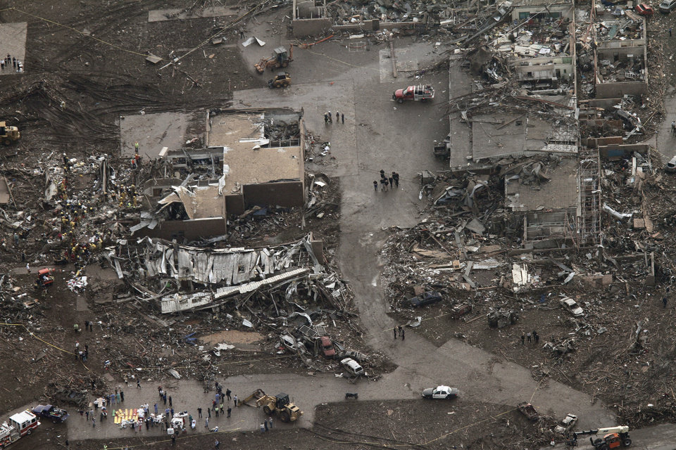 Aerial view of damage after a massive tornado hit Moore, Oklahoma Monday May 20, 2013. Photo by Steve Gooch, The Oklahoman