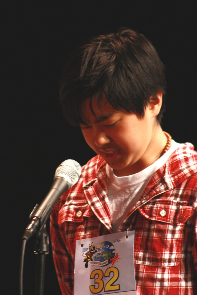 Michael Mandanas, from Heritage Hall, was the runner-up at the Cetnral Oklahoma Spelling Bee finals held at Rupel Jones Theatre on the University of Oklahoma campus.    <strong>By Lynette Lobban, For The Oklahoman</strong>