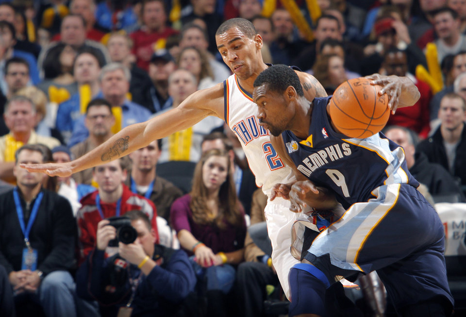 Memphis' Tony Allen (9) drives the ball against the Thunder's Thabo Sefolosha (2) during the NBA basketball game between the Oklahoma City Thunder and the Memphis Grizzlies at the Oklahoma City Arena on Tuesday, Feb. 8, 2011, Oklahoma City, Okla.
