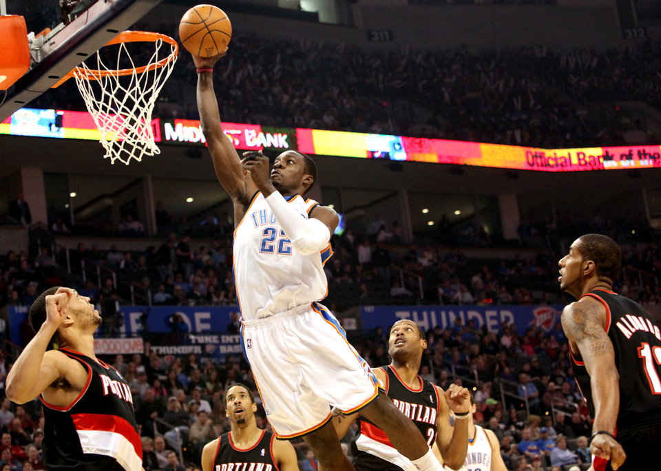 Oklahoma City's Jeff Green goes to the basket in front of Portland's defense during their NBA basketball game at the Ford Center in Oklahoma City, Okla., on Sunday, March 28, 2010. Photo by John Clanton, The Oklahoman