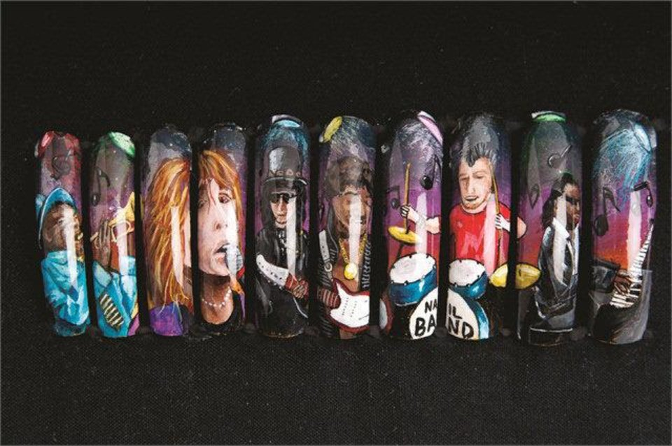 Photo - Robert Nguyen won NAILS Magazine's 2012 Nail Mural Contest with his rock music inspired nail art. Photo provided.