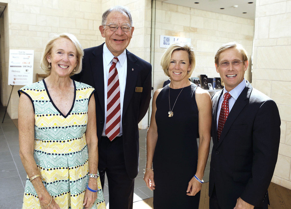 Photo - Christy Everest, Dean Joe Foote, Tricia Everest and Bart Conner attend the University of Oklahoma (OU) Gaylord College of Journalism's Centennial Celebration luncheon on Friday, Sept. 6, 2013 in Norman, Okla.  Photo by Steve Sisney, The Oklahoman