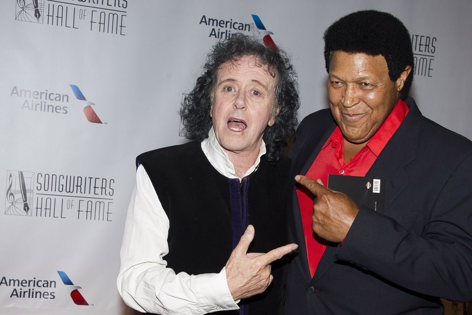 Photo - Donovan, left, and Chubby Checker attend the Songwriters Hall of Fame Awards on Thursday, June 12, 2014 in New York. (Photo by Charles Sykes/Invision/AP)