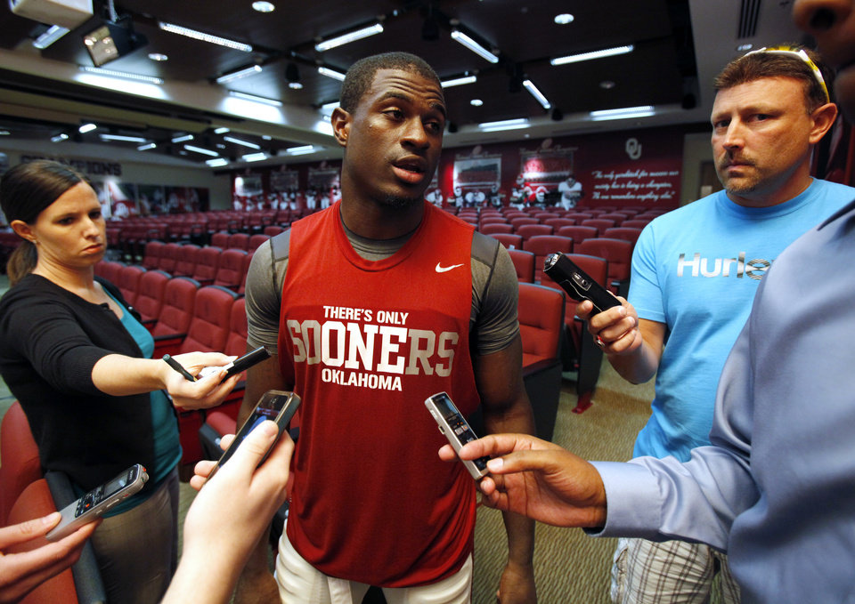 Gabe Lynn (9) speaks to the press at a media availability for the University of Oklahoma Sooner (OU) football team following practice on Tuesday, Aug. 21, 2012 in Norman, Okla.  Photo by Steve Sisney, The Oklahoman