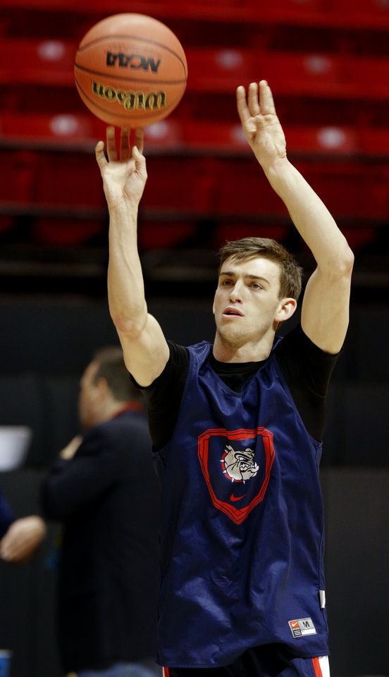 Photo - Gonzaga's David Stockton shoots during practice the day before Oklahoma State's second round game of the NCAA men's college basketball tournament at Viejas Arena in San Diago, Thursday, March 20, 2014. Oklahoma State will face Gonzaga in their NCAA Tournament game on Friday, March 21, 2104. Photo by Bryan Terry, The Oklahoman