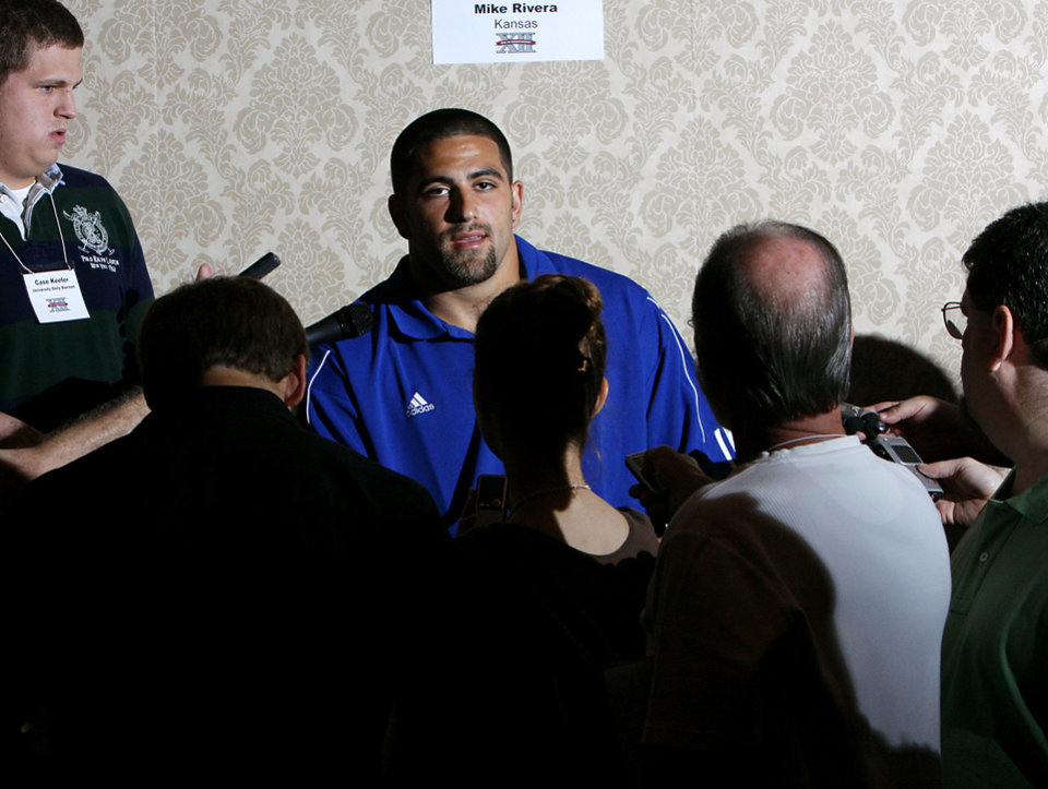 Photo - COLLEGE FOOTBALL: Kansas State University player Mike Rivera answers questions from the media during the Big 12 Conference Football Media Days at the Kansas City Marriott Downtown in Kansas City, Mo., on Tuesday, July 22, 2008. By John Clanton, The Oklahoman ORG XMIT: KOD
