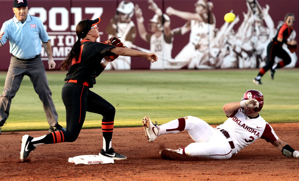 Photo - Oklahoma StateÕs Madi Sue Montgomery makes the first half of a double play putting out Grace Lyons at second base in Bedlam softball as the University of Oklahoma Sooners (OU) play the Oklahoma State Cowboys (OSU) at Marita Hynes Field at the OU Softball Complex on  May 4, 2019 in Norman, Okla.  [Steve Sisney/For The Oklahoman]