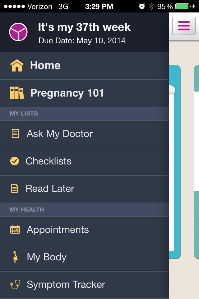 Photo - This image provided by WebMD shows the menu list for the WebMD Pregnancy app. (AP Photo/WebMD)