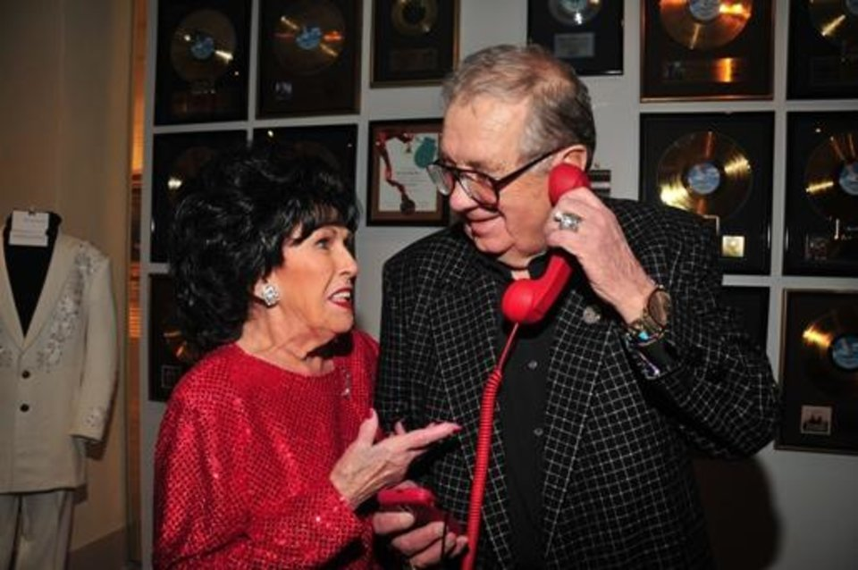 Oklahoma rock 'n' roll pioneer Wanda Jackson and Jim Halsey appear together at the January opening reception for the exhibit ?Starmaker: Jim Halsey and the Legends of Country Music? in January at the Gaylord-Pickens Oklahoma Heritage Museum. The exhibit is on view through May 18. Photo by Captured Moments Photography.