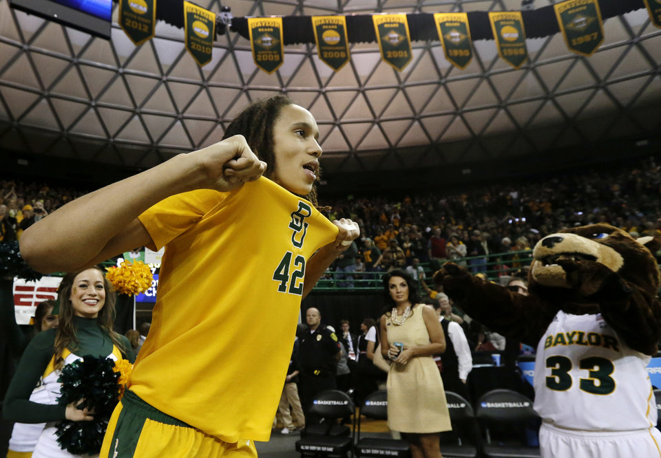 Photo - Baylor's Brittney Griner (42) celebrates after their second-round game against Florida State in the women's NCAA college basketball tournament Tuesday, March 26, 2013, in Waco, Texas. Baylor won 85-47. (AP Photo/Tony Gutierrez)