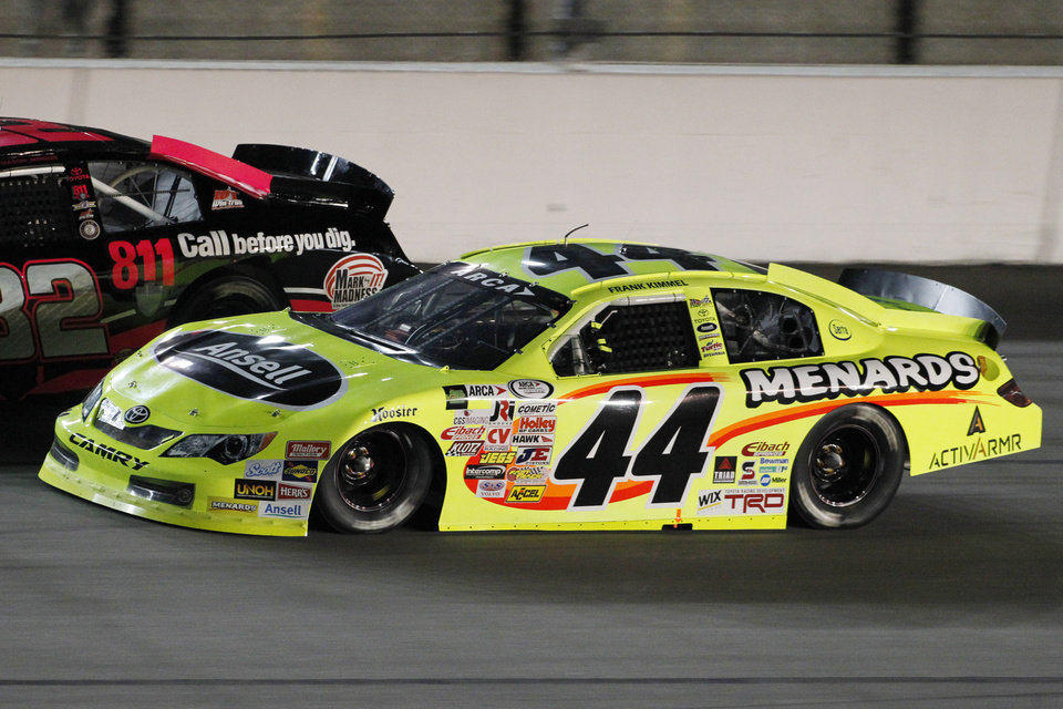 Photo - Frank Kimmel (44) drives in the ARCA auto race at Kansas Speedway in Kansas City, Kan., Friday, Oct. 4, 2013. Kimmel won the season title earlier Friday. (AP Photo/Colin E. Braley)