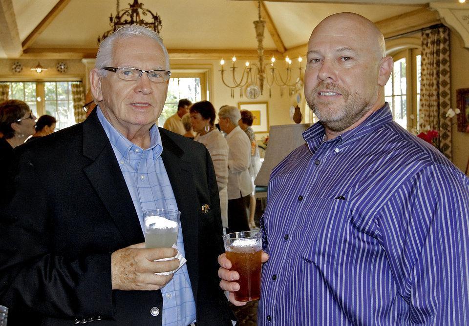 Joe Johnston and James Mosshammer, from left, at the A Chance to Change party honoring executive director Jo Ann Pearce in the home of Tony and Katie Say. PHOTO BY CHRIS LANDSBERGER, THE OKLAHOMAN  <strong>CHRIS LANDSBERGER - CHRIS LANDSBERGER</strong>
