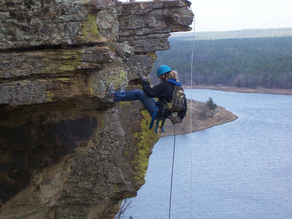 Photo - Left: Visitors can rappel the wall at Robbers Cave State Park. PHOTO PROVIDED