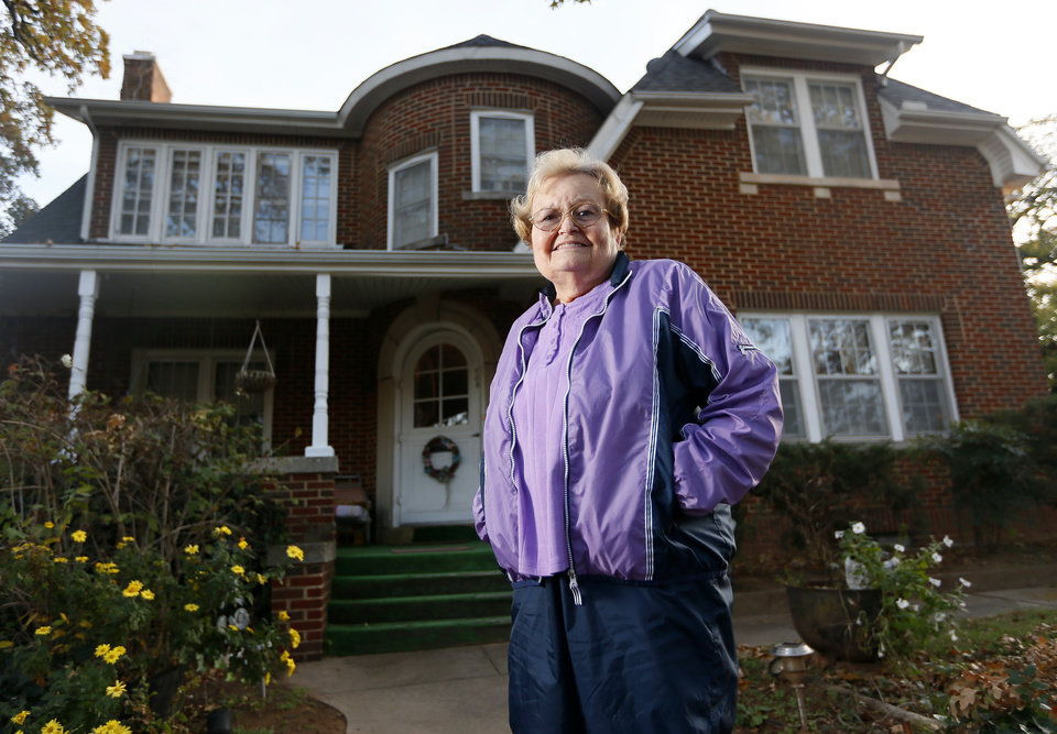 Photo - Gay Gower, mother of Deer Creek head football coach Grant Gower,  poses for a photo at her home in Tecumseh, Okla., Wednesday, Nov. 14, 2012. Photo by Nate Billings, The Oklahoman