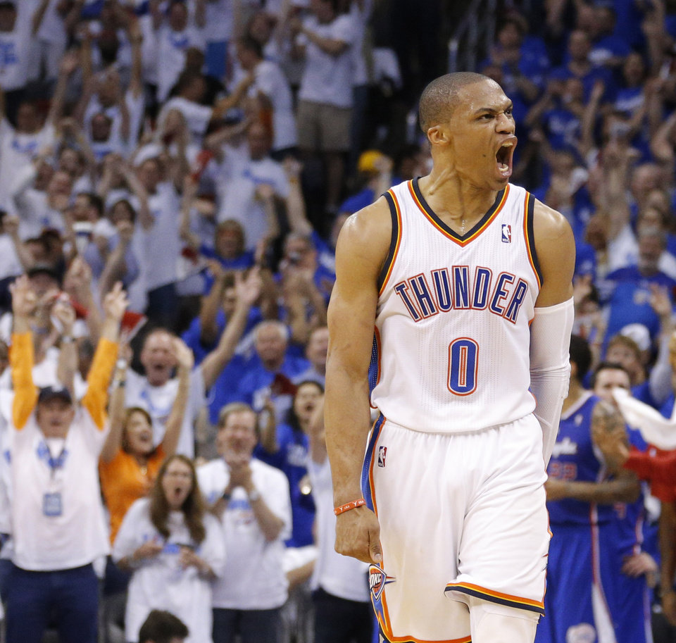 Photo - Russell Westbrook (0) reacts in the third quarter during Game 2 of the Western Conference semifinals in the NBA playoffs between the Oklahoma City Thunder and the Los Angeles Clippers at Chesapeake Energy Arena in Oklahoma City, Wednesday, May 7, 2014. Photo by Bryan Terry, The Oklahoman