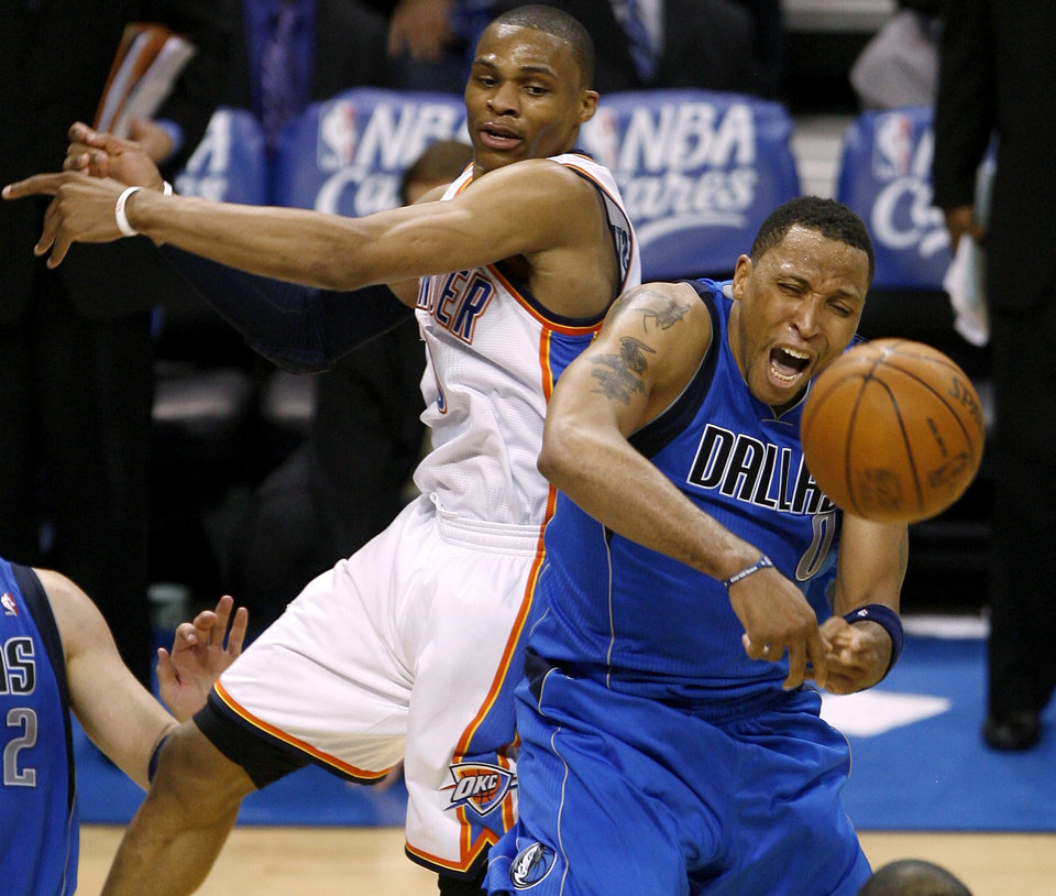 Shawn Marion (0) of Dallas goes for the ball beside Oklahoma City\'s Russell Westbrook (0) during game 4 of the Western Conference Finals in the NBA basketball playoffs between the Dallas Mavericks and the Oklahoma City Thunder at the Oklahoma City Arena in downtown Oklahoma City, Monday, May 23, 2011. Photo by Bryan Terry, The Oklahoman ORG XMIT: KOD