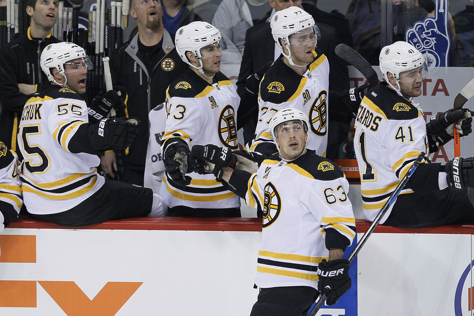 Photo - Boston Bruins' Brad Marchand (63) looks up at the replay screen after scoring against the Winnipeg Jets during the first period of an NHL hockey game Thursday, April 10, 2014, in Winnipeg, Manitoba. (AP Photo/The Canadian Press, John Woods)